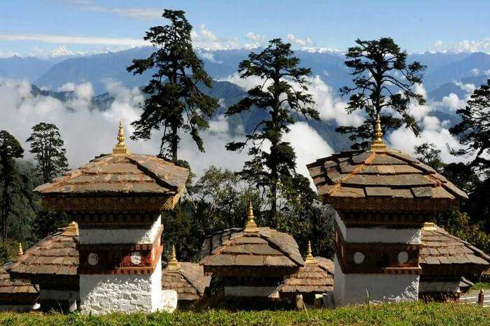 Trongsa Dzong surrounded by clouds and trees