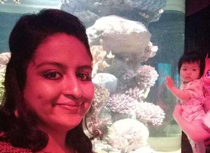 Ramya clicks a selfie at the sea world in bangkok