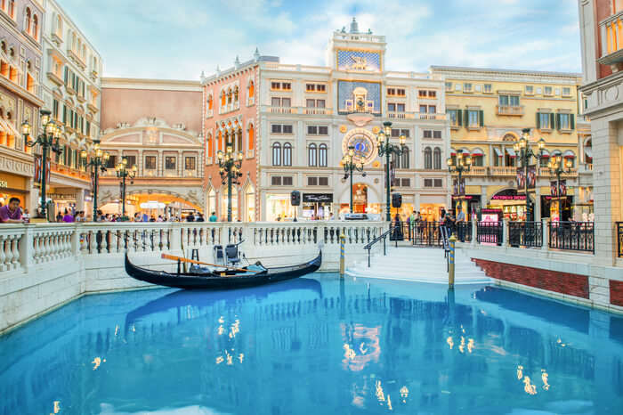 A gondola in the canal of the Venetian Macao resort