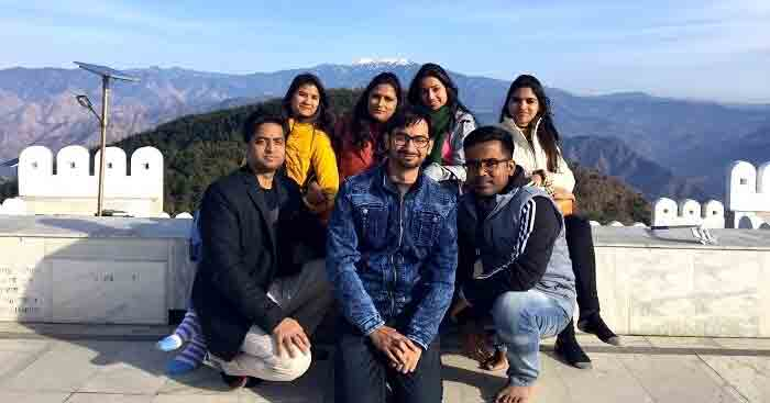 Vaibhav with friends on a trip to Chail