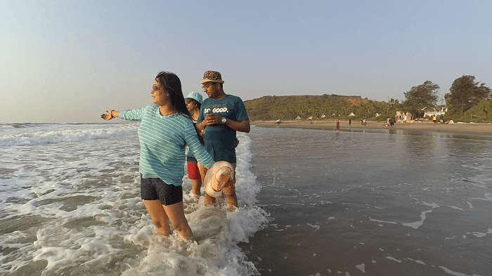 Female tourist in Goa beach