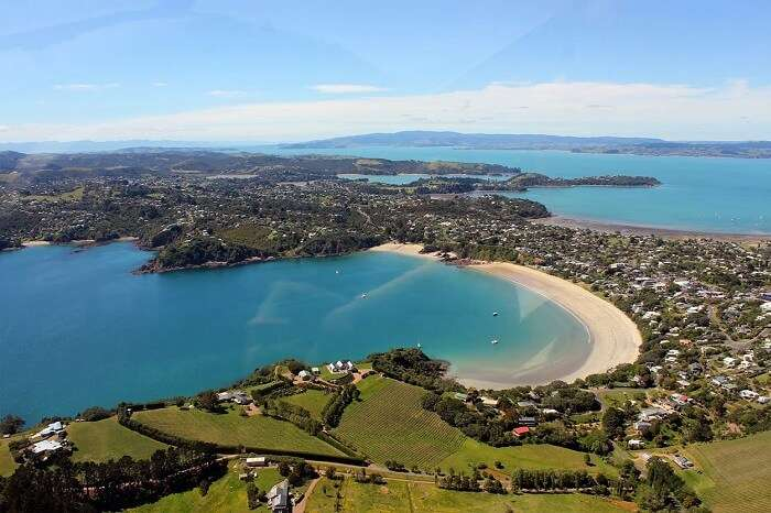 An aerial shot of the Waiheke Island in Auckland region of New Zealand