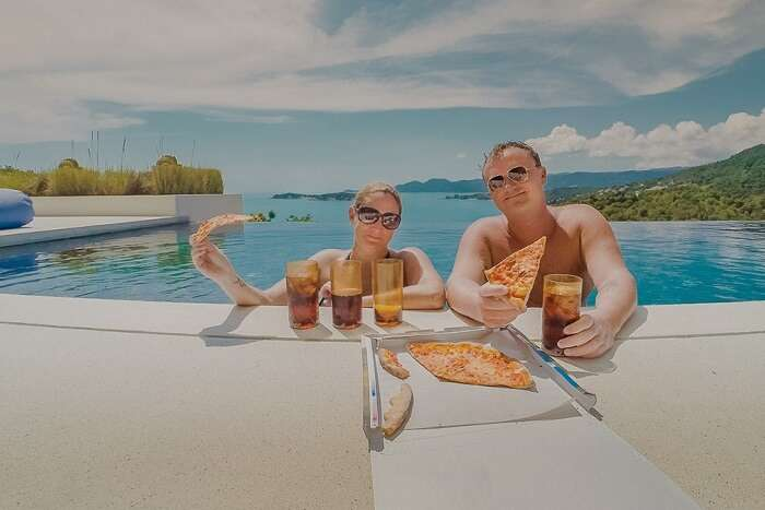 Amber Siobhaun Hoffman & Eric Hoffman at a sea side resort in Italy