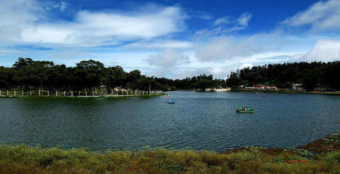 Gorgeous Yercaud lake with boats sailing
