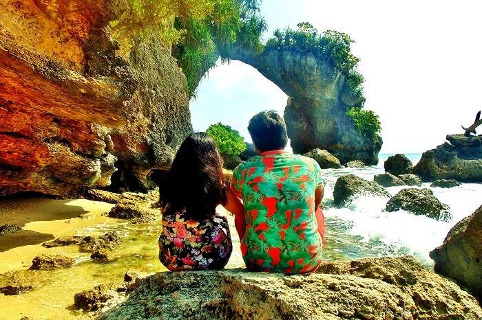 Honeymoon couple at the Elephant beach in Andaman