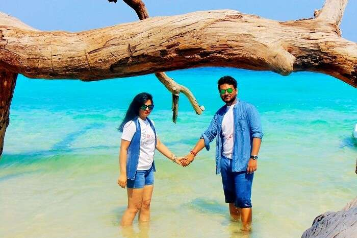 Honeymoon couple at the beach in Andaman