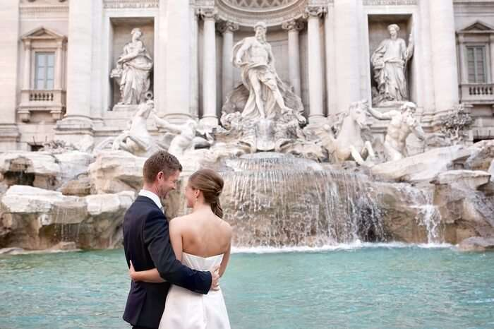 couple at Trevi Fountain