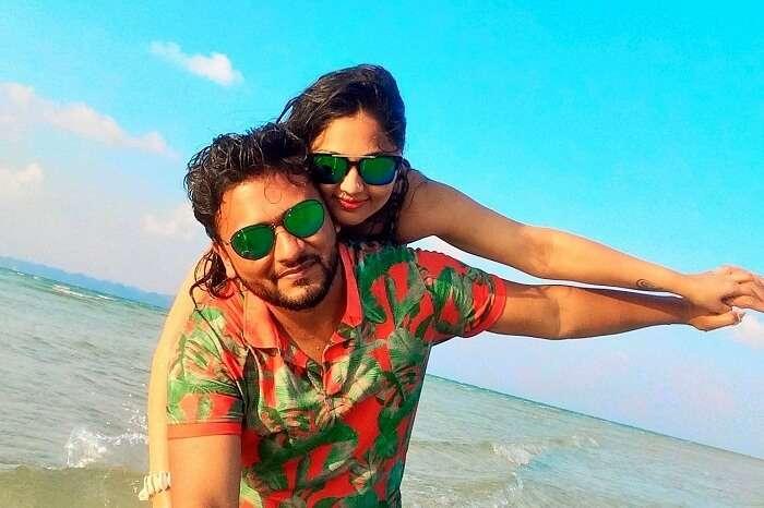 Happy couple on honeymoon in Andaman Islands