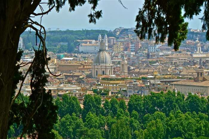Rome city view from a garden