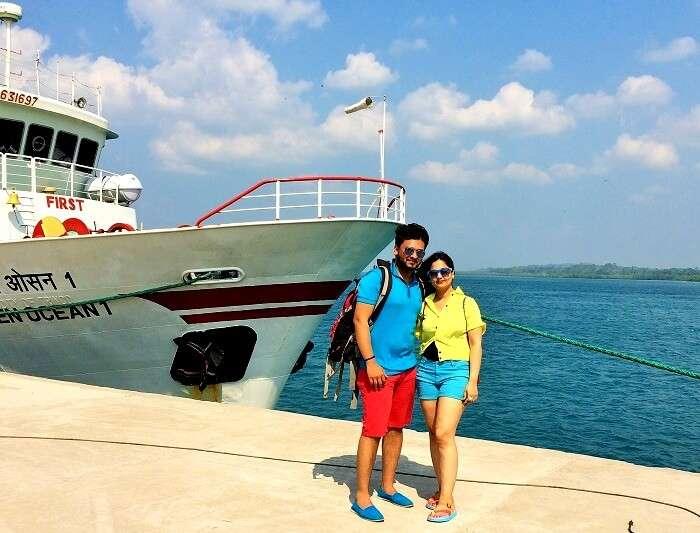 Couple enjoying catamaran cruise in Andaman