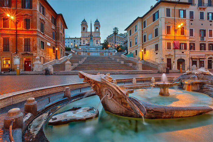 a fountain near Spanish steps