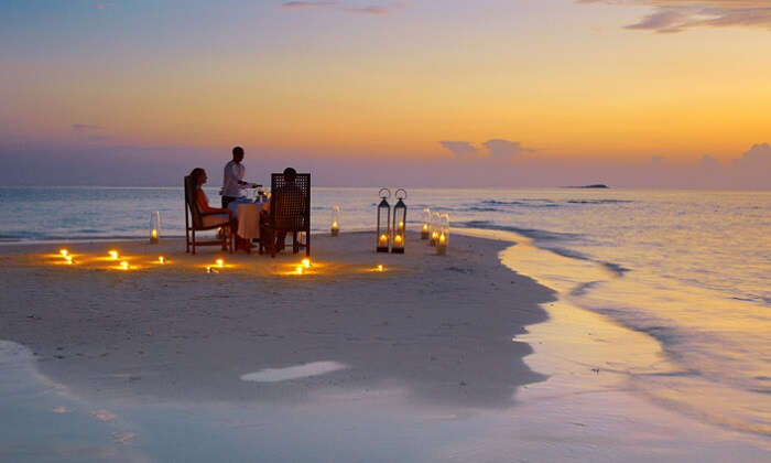 Candle light dinner baros beach maldives