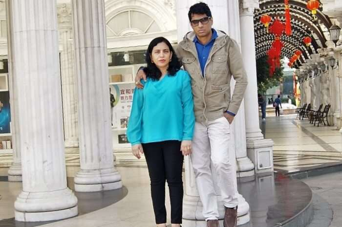 Sudip and his wife in Shenzhen