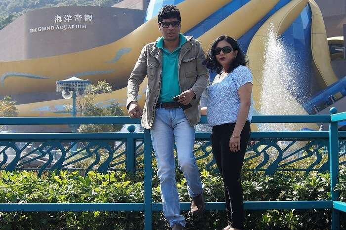 Sudip and his wife at the Ocean park