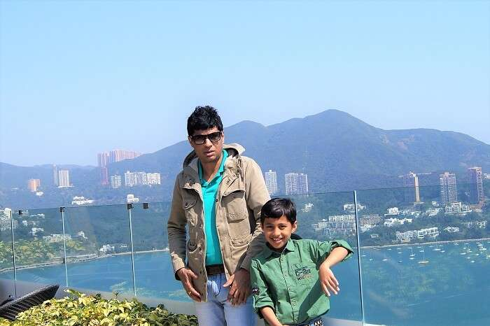 Sudip and his son at the ocean park