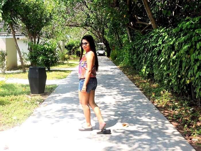 Female tourist in Maldives
