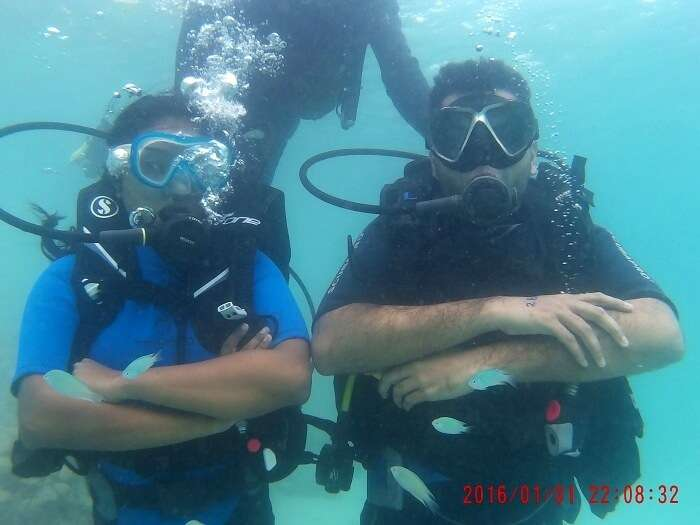 kinker and his wife scuba diving