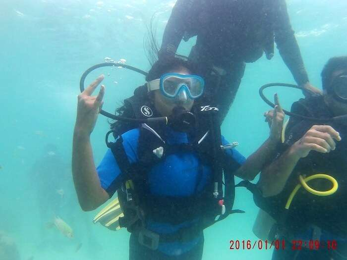 couple scuba diving in andaman