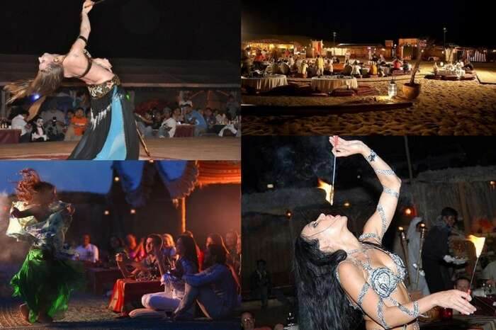 Dance and entertainment show in progress at a desert camp in Dubai
