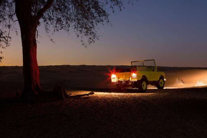 Travelers going for a night safari ride in Dubai