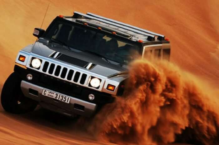 Dune bashing during desert safari in Dubai