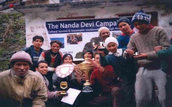 Group of travelers in Nanda Devi Biosphere Reserve taking up adventure programs to promote ecotourism in India