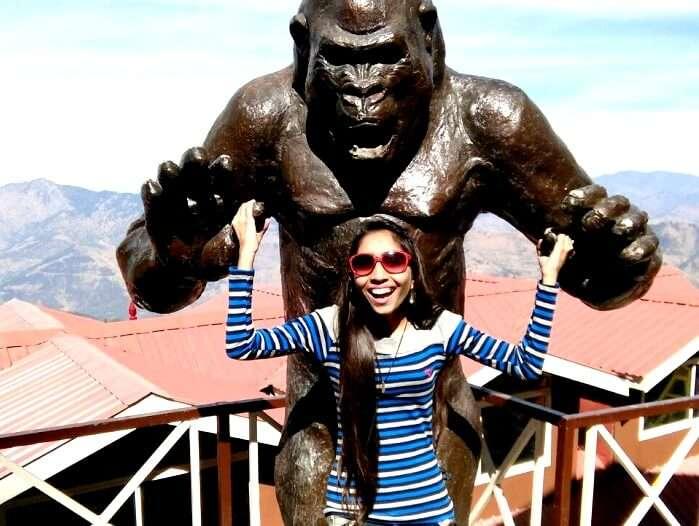 Female tourist in hills
