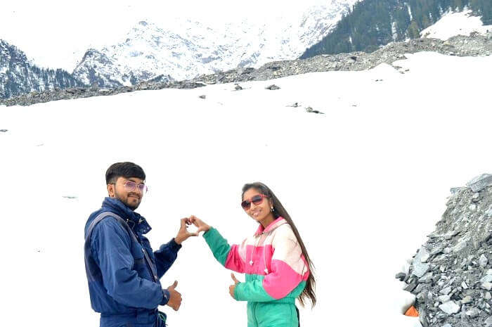 Couple enjoying in solang