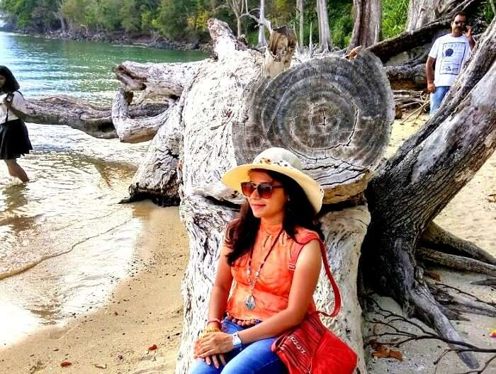 Female tourist in Havelock islands