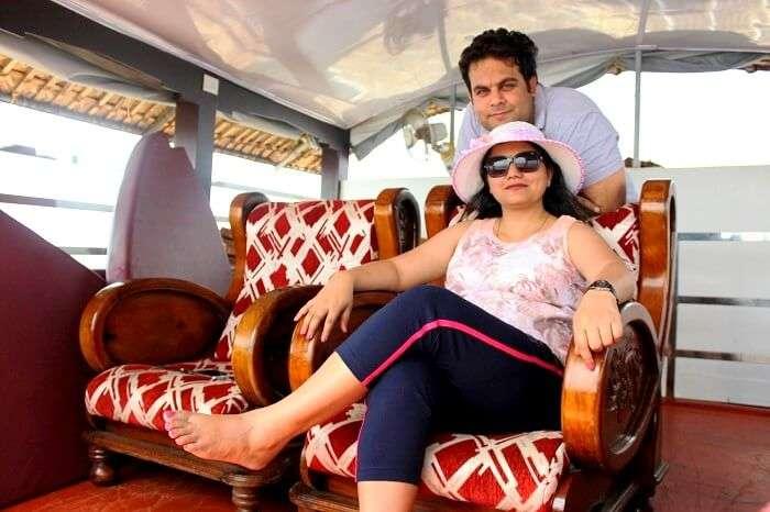 Travelers in Kerala houseboat