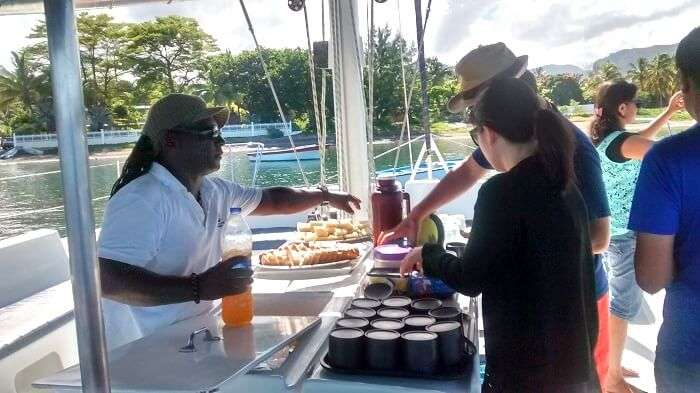 Food on the Catamaran cruise