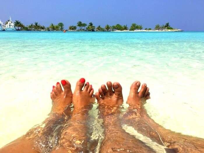 Couple in Maldives beach
