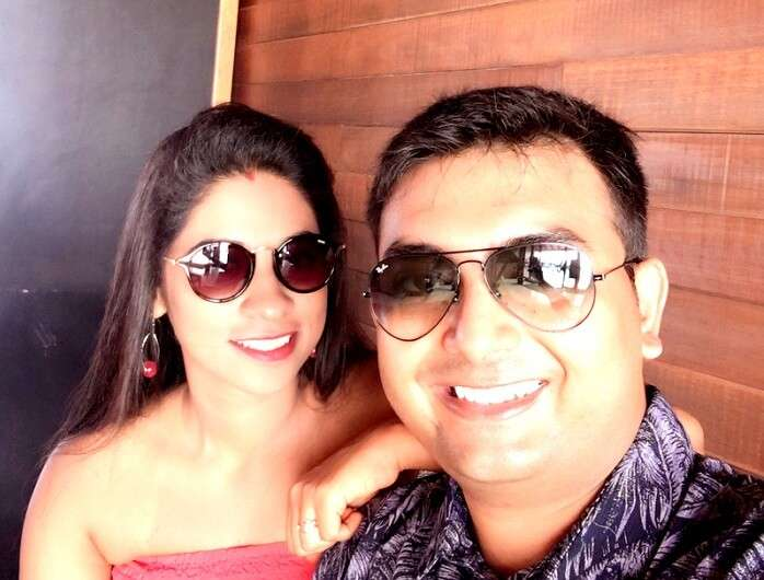 Couple honeymooning in Maldives