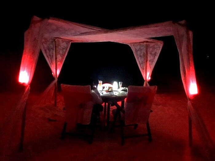Candle light dinner in Maldives