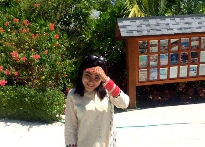 the hot sun hitting down hard of Jyotika in Maldives