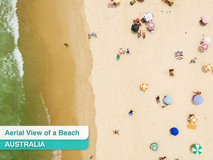 Ariel view of a beach in Australia