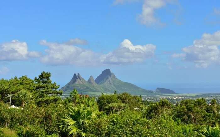 View of Trois Mamelles in Mauritius from Curepipe