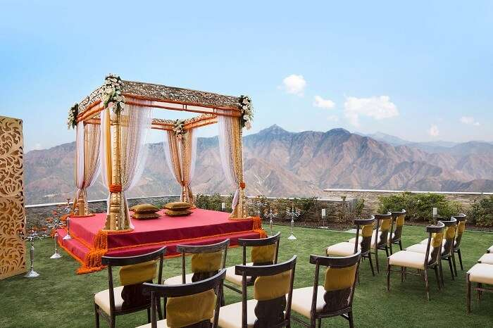 Outdoor wedding setup at JW Marriott Mussoorie Walnut Grove Resort and Spa