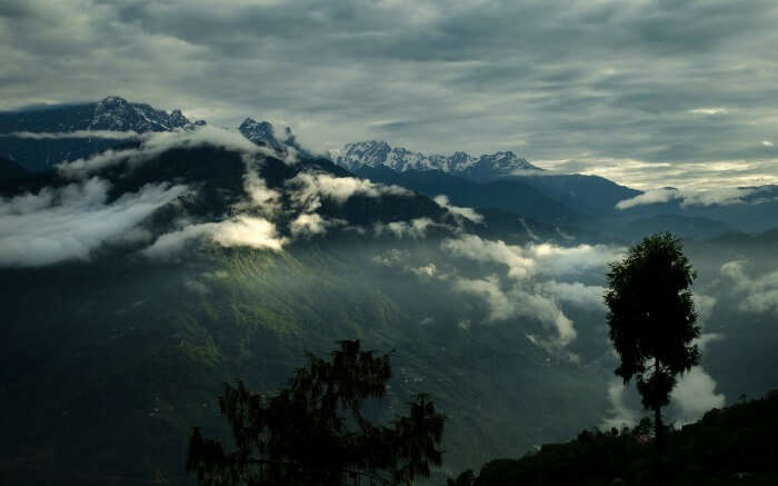 Cloud-kissed mountains in Pelling - one of the best mini moon destinations