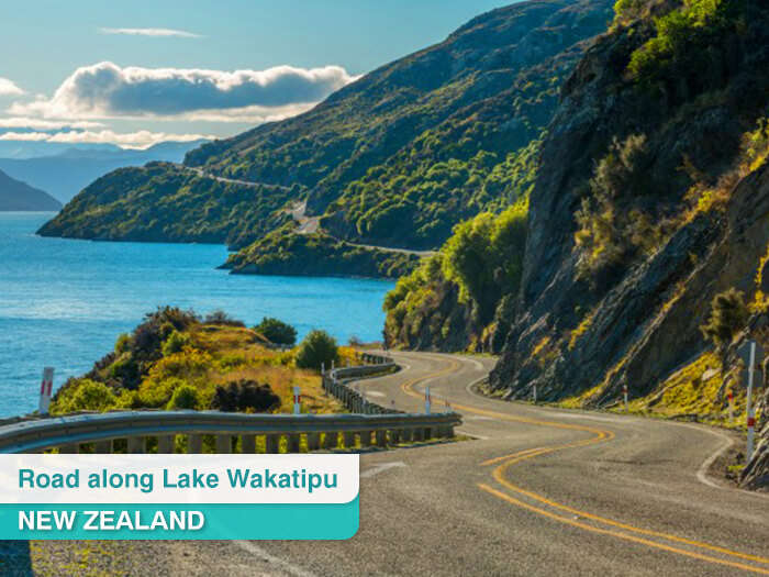 Road along Lake Wakatipu in New Zealand