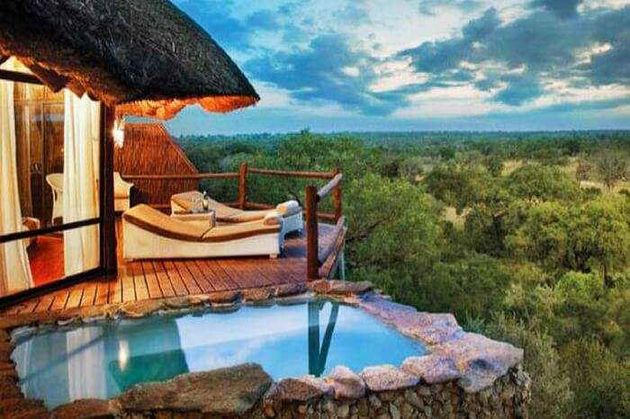 A jungle lodge by the bushes in game reserve in South Africa