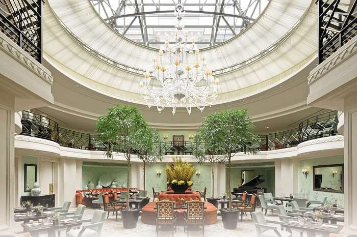 The chic interiors of L-Abeille restaurant of Shangri-La Hotel near Eiffel Tower in Paris
