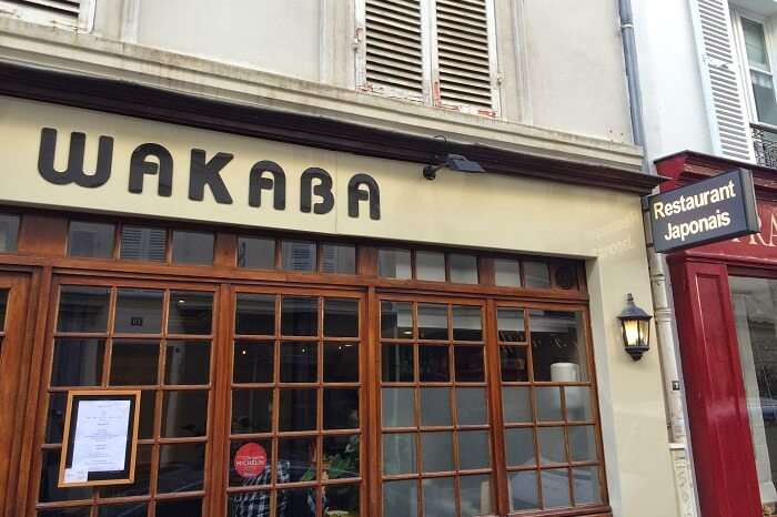 The entrance of the Wakaba Japanese restaurant near Eiffel tower in Paris