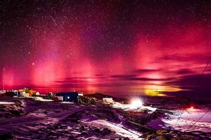 The spectacular aurora australis captured from Casey Station in the Antarctica