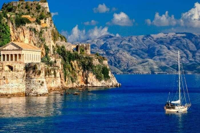 A ship crossing the sea near Corfu in Greece