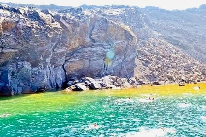 Hot springs in the Aegean Sea in Greece