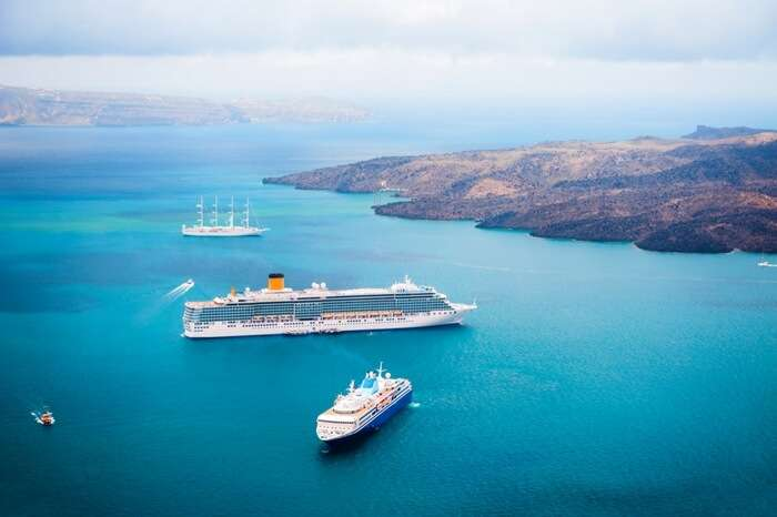 Cruise ships crossing touring the Greece isles