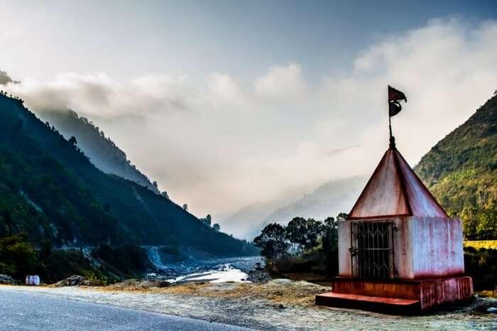 Temple by the highway en route to Ranikhet in Uttarakhand