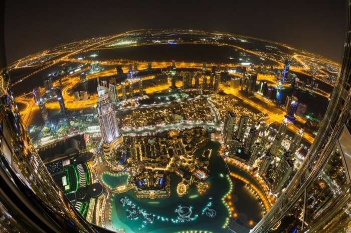 Downtown view of Dubai at night