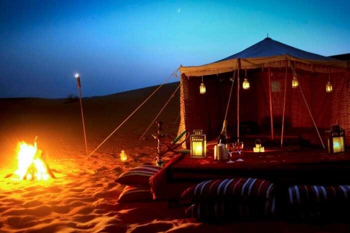 Camping setup in Arabian desert in Dubai at night